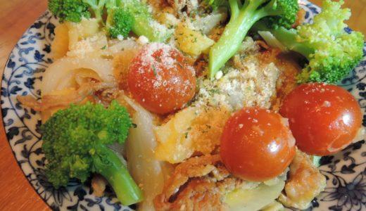 「豚肉とジャガイモと玉ねぎとトマトとブロッコリーのBBQ蒸し炒め」を作った。